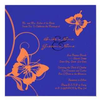 Invitación anaranjada y azul del boda de la