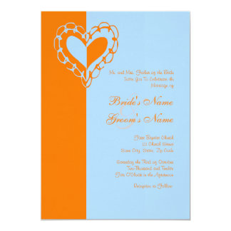 Invitación anaranjada y azul del boda del corazón