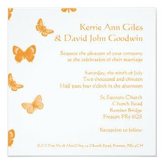 Invitación anaranjada y blanca del boda de la
