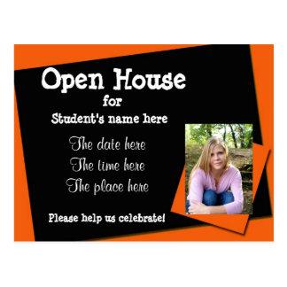 Invitación anaranjada y negra de la casa abierta postales