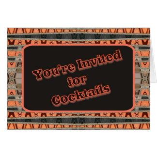 invitación anaranjada y negra de los cócteles tarjeta de felicitación