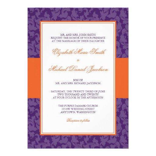 Invitación anaranjada y púrpura del boda del remol