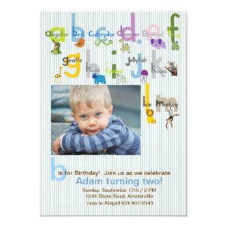 Invitación animal de la fiesta de cumpleaños de la