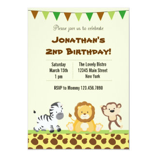 Invitación animal de la fiesta de cumpleaños del