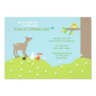 Invitación animal del arbolado del bebé invitación 12,7 x 17,8 cm