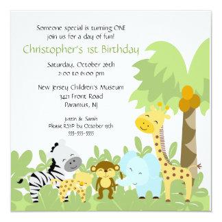 Invitación animal del cumpleaños de la selva del invitación 13,3 cm x 13,3cm