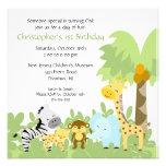 Invitación animal del cumpleaños de la selva del b