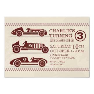 Invitación antigua de los coches de competición