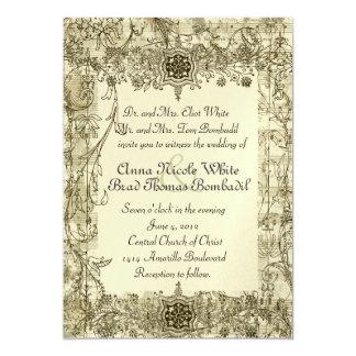 Invitación antigua de lujo del boda de la música