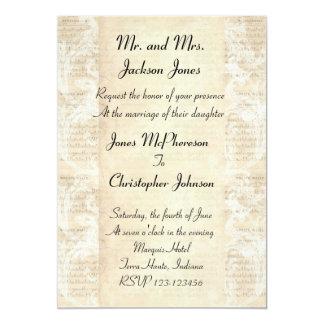 Invitación antigua del boda de la hoja de música