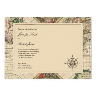 Invitación antigua del boda del mapa de Viejo