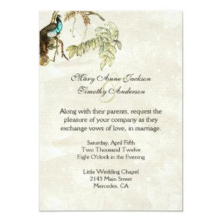 Invitación antigua del boda del Peafowl de la