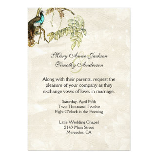 Invitación antigua del boda del Peafowl de la mira