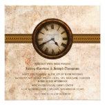 Invitación antigua del boda del reloj, Brown
