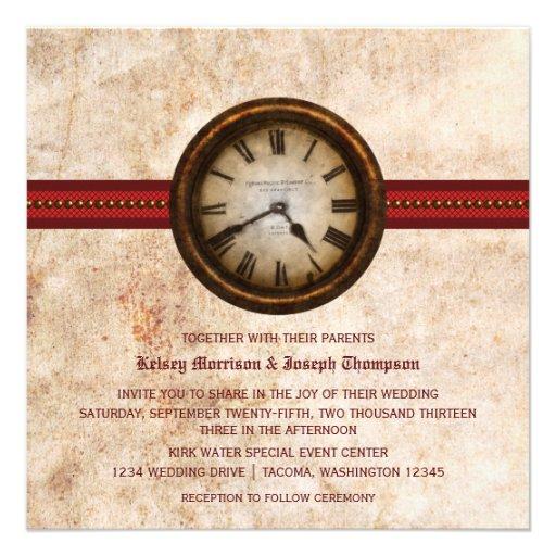 Invitación antigua del boda del reloj, roja