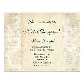 Invitación antigua del decreto de la música invitación 10,8 x 13,9 cm