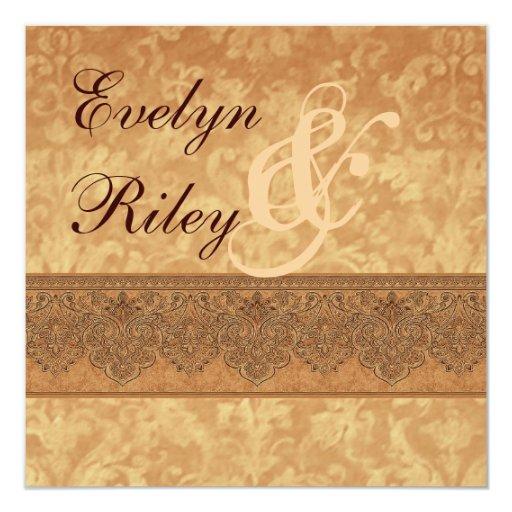 Invitación antigua E401 del boda del damasco del