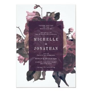 Invitación antigua púrpura del boda del vintage de