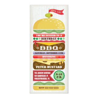 Invitación apilada del fiesta de la hamburguesa