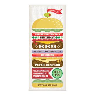 Invitación apilada del fiesta de la hamburguesa de