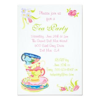 Invitación apilada Victorian de la fiesta del té