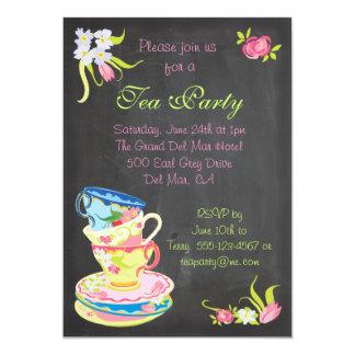 Invitación apilada Victorian de las tazas de té de