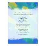 Invitación artística azul y amarilla del boda invitación 12,7 x 17,8 cm