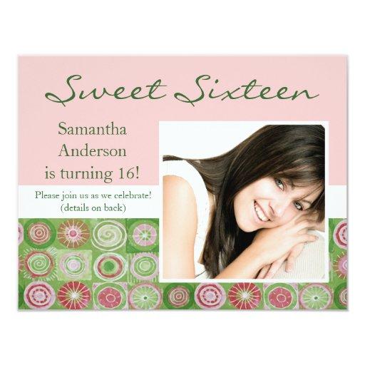 Invitación artsy del dulce dieciséis del rosa y invitación 10,8 x 13,9 cm