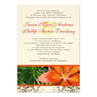 Invitación asiática elegante del boda del lirio