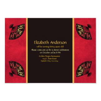 Invitación asiática magnífica de la fan invitación 12,7 x 17,8 cm