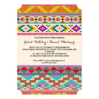 Invitación azteca bohemia del boda de Ikat