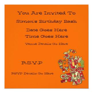 Invitación azteca del diseño invitación 13,3 cm x 13,3cm