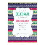 Invitación azteca tribal brillante del cumpleaños