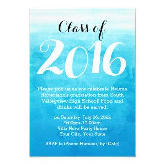 Invitación azul 2016 de la fiesta de graduación de