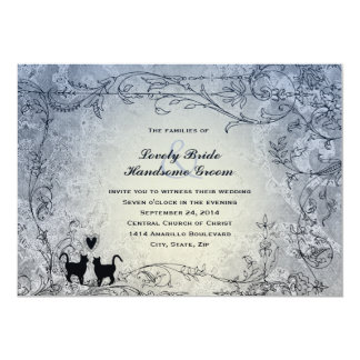 Invitación azul adornada del boda del vintage de