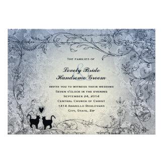 Invitación azul adornada del boda del vintage de l
