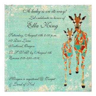 Invitación azul ambarina del bebé de las jirafas