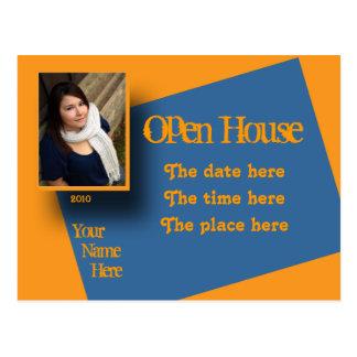 invitación azul anaranjada de la casa abierta postal