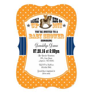 Invitación azul anaranjada de la fiesta de