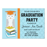Invitación azul/anaranjada de la graduación del invitación 12,7 x 17,8 cm