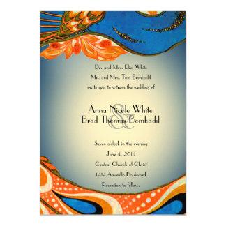 Invitación azul anaranjada del boda del pavo real