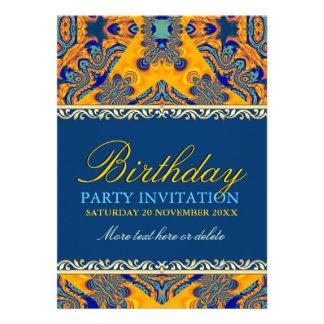 Invitación azul anaranjada del cumpleaños del bati