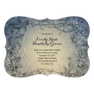 Invitación azul banal del boda de las luces de had