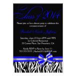 Invitación azul blanca negra 2014 de la graduación