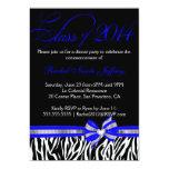 Invitación azul blanca negra 2014 de la graduación invitación 12,7 x 17,8 cm