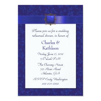Invitación azul bonita del ensayo del boda del