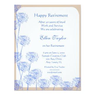 Invitación azul bonita del fiesta de retiro del