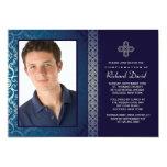 Invitación azul brillante de la foto (horizontal) invitación 12,7 x 17,8 cm