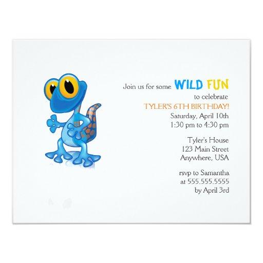 Invitación azul brillante del cumpleaños del Gecko