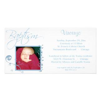 Invitación azul clara de la foto del bautismo tarjeta fotográfica personalizada